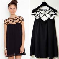 Fashion Summer Black Party Plain Girl Cut Out Chiffon Mini Shift Dress Cheap Vestidos Black Hollow Out Women Sexy Dress CX850118