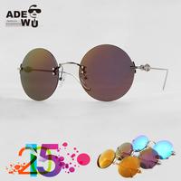 New 2015 Vintage Big Round Sunglasses Unisex Circle Sun Glasses With Rimless Metal Frame oculos feminino