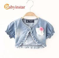 3-10 yrs Denim Jacket for Girls:Fashion 3d Flower Design Princess Girl Petal Sleeves Cape for Dress Short Section Kids Jackets