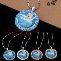 Best Selling Crystal Rhinestone Girl Frozen Princess Elsa Pendant Necklace 2014 Cartoon Jewelry for Girls