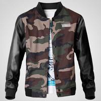 Winter 2014 Men's Leather Casual-Jackets Veste Homme Military Coats Skateboard Camouflage Jacket