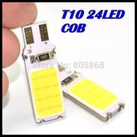 10pcs/lot x T10 194 168 W5W 24led t10 cob led white 5W High Power LED Car Door Lamps Indicator Light Reading Light  Bulbs White