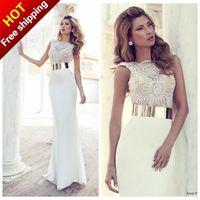 2015 Evening Dresses New Formal Elegant Sexy V-Neck White Beading Chiffon Long Prom Party Gown Vestido De Festa Vestido Longo