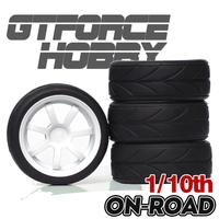 High Quality  1/10 Wheel Tire Set 7 Spoke(White) for rc Touring Car on road drift car tire (4pcs) foam insert tires rubber made