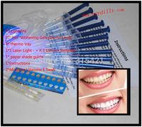 1Pack/lot Teeth Whitening Bleaching Kit 12Pcs 44% 3ml Whitening Gel +4 Mouth Trays + 2 VE Swab+1 Light +1 shade guide MY364