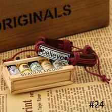 19 Design Fashion 100 Genuine leather Braided Bracelet Women Silver Love Believe Cross Charms Bracelets Bangles