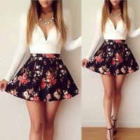 Vestido De Festa 2015 New Women Summer Dress Deep V-Neck Print Floral Mesh Sexy Long Sleeve Dresses Plus Size Casual Dress