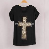 High quality Fashion Women Cross Sequined T shirt Blusas Black Short Sleeve Stretch Summer T-shirt Tops Plus Size