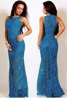 Vestido de Festa Summer Dresses 2015 Navy Lace Satin Patchwork Party Maxi Dress LC6809 Vestidos Femininos Casual Free Shipping