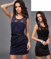 Women Elegant O-neck Sleeveless Lace mesh sexy package hip dress Office wear Jacquard Voile Temperament Charm Bodycon Dresses