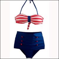 White Red Striped Women Bathing Suit Sexy Bikini Brazilian Set Plus Size Swimwear Hight Waist Swimsuit Drop Ship