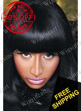 Lustrous médio preto mulher Nicki Minaj perucas ondulado Hairstyle da celebridade de 14 polegada Bob perucas grátis frete(China (Mainland))