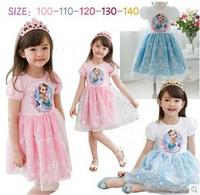New arrive frozen dress, short sleeve lace dress, high quality children's clothes, princess dress, Elsa dress.