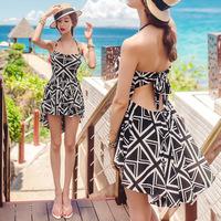 New arrival 2015 Summer British style one piece swimsuit sexy black and white lover beachwear women underwire push up swimwear