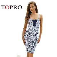 Topro Sexy Spaghetti Flower Print Dress Elegant Midi Shift Pencil High Street Celebrity Wedding Party Dresses HW0230
