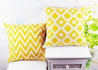 "18"" * 18 "" Home Decorative Ikea Yellow Chevron Quatrefoil Linen Throw Cushion Cover Pillow Case for Bedding Sofa"