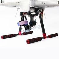 FPV Carbon Fiber Tall Landing Skid Gear Kit For DJI Phantom 2 Vision + Plus FC40 Red & Black