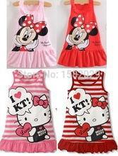 Hot Sale Girls Dresses, New Designer cotton 2015 summer cartoon cat child clothing baby dress princess dress summer child dress(China (Mainland))