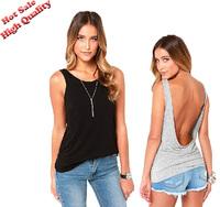 2014 Best tank tops women sexi top vest womens tropical summer clothes blusas sexy femininas cut out Backless tank top S-XXL