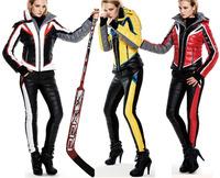 Fashion clj flame motorcycle lady casual fashion down coat female short design set ski suit women winter dress uniform
