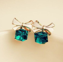 LZ Jewelry Hut E480 The 2014 Chic Shimmer Gold Bow Cubic Crystal Earrings Gold Tone GP