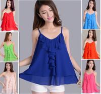 2015 Summer women Pleated ruffles Casual chiffon Spaghetti Strap shirts blouse,colorful chiffon vest ,plus size vestidos 5XL 4XL