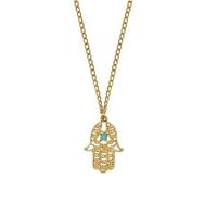 (Min order 6$)Lucky Lady Hamsa Necklace Fatima Hand Pendant Rhinestone Golden Chain Charm