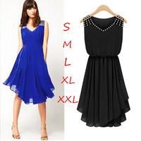 New 2015 Summer Women Chiffon Dress Decorate Diamond Vestidos Femininos Black Irregular Dress Casual Dresses Fashion Clothing