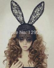OEM Fashion headbands novelty adult sexy black rabbit bunny ears veil barrettes solid women headwear cn Lace sexy headdress(China (Mainland))