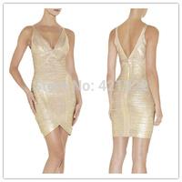 2015 new arrival  high quality sexy gold foil V neckline bandage Celebrity dress Party Evening Dresses HL