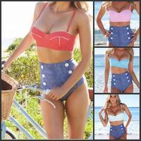 2015 New Fashion Women Do Printed High Waist Bikini Set Summer Beach Swimwear Striangle Push Up Bikini Swimsuit