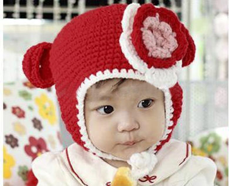 Hot Cute Baby 1PC Red Flower Handmade Knit Crochet Baby Beanie Hat Cap 21cmx15cm(China (Mainland))