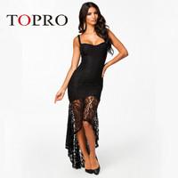 Topro Black Sexy Irregular Vestidos Femininos Lace Dress 2015 New Style Elegant Wedding Party Dresses Empire Deep V Neck HW0141