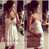 2015New Fashion casual summer fashion dresses women dress new white Sling dress sexy chiffon lace dress vestido de festa