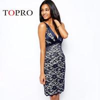 Topro Vestidos Ladies 2015 Brand New Desigual Deep V Neck Midi Celebrity Dresses Sexy Casual Clothing Wedding Party HW0165