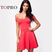 Topro Sexy Off Shoulder Deep V Neck Big Swing Skater Dress Tunic Prom Summer Mini Elegant Evening Club Dresses HW0079