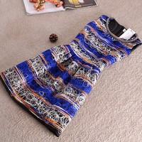 2014 Winter Women fashion brand Dress Sleeveless flower Print Dresses Patchwork Ball Gown casual Dress Roupas Femininas SY2705