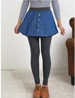 1 piece Women'S Pants With Mini Faux denim Skirt Warm False Two Pieces Mermaid Leggings Stretch 2 In 1 Fit Winter trouser