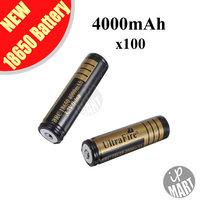 FREE SHIPPING! Ultrafire 18650 4000mAh 3.7V Li-ion Rechargeable Battery Gold for led flashlight 100PCS/LOT