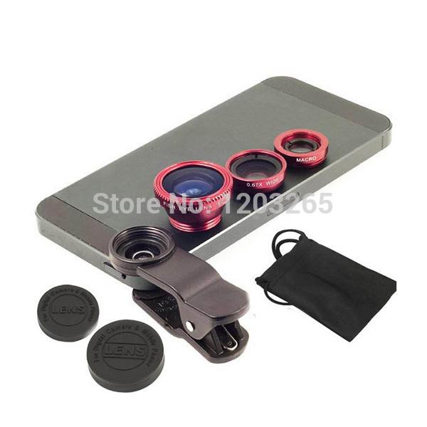 Universal clip-on phone lens for smart phones 3 in 1 Fish Eye+ Wide Angle+Macro lens Mobile Fisheye lens