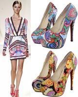 Pumps dor women high heels Fashion flower pumps symphony fashion women's ultra high heels shoes ol thin heels platform shoes