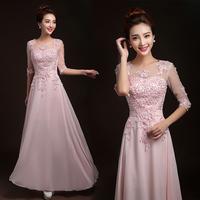 Cheap Long Half Sleeve Three Quarter Lace Red Pink Ice Blue Blush Bridesmaid Dress 2014 Wedding Prom Party Dress Under $80