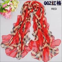 2014 New Brand Scarf for Women Fashion Style Designer Plaid Scarf Autumn Winter Chiffon Long Warm Silk Scarf shawls and scarves