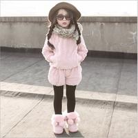 2014 New Fleece Baby Girls Clothing Set 2pcs coat+pant children Girls Clothes Set 2 Colors