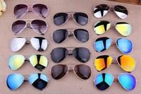 Free shipping on 19 color classic retro reflective color film Sunglasses bright sun glasses 3026