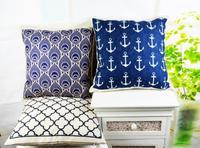 """18"""" * 18 """" Home Decor Retro Decorative Anchor Eye Quatrefoil Linen Cotton Throw Cushion Cover Pillow Case for Sofa"""