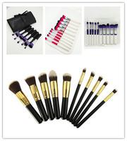 10 pcs Synthetic Kabuki Makeup Brushes Professional Cosmetics Foundation Blending Blush Make up Brush Set Tool With PU Bag