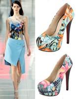 Fashion pumps new arrival high heels thin heel pumps trend of ethnic graffiti silk cloth waterproof high-heeled platform shoes