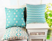 "18"" * 18 "" Home Decorative Ikea  Aqua Cross Geometry Linen Cotton Throw Cushion Cover Pillow Case for Sofa"