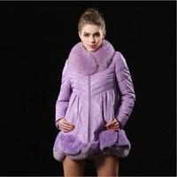 100% Fox Fur Feather coat Winter Coat Complete Skin High-Grade Soft Fur Fox Collars Fox Fur Coat Genuine leather Fox Fur Coat